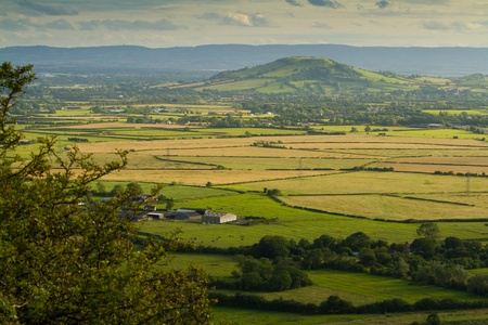 brent: View from Crook Peak towards Brent Knoll in Somerset