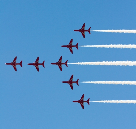 Red Arrows Display Team show teamwork