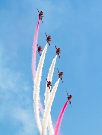 Red Arrows Display Team with smoke