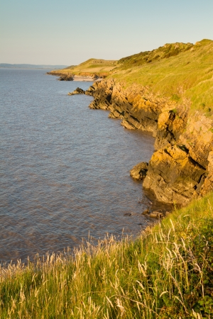 steep holm: Sand Point coastline in Sand Bay Weston-super-Mare Stock Photo