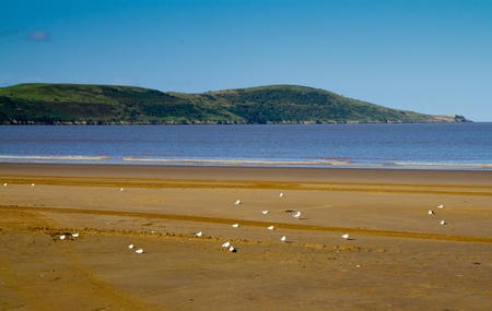 brean: Brean Down viewed from Weston-super-Mare beach