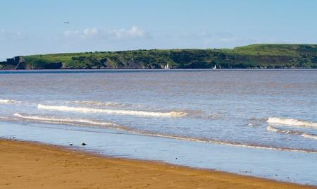 birnbeck: Brean Down visto da Weston-super-Mare spiaggia