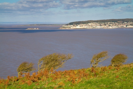 Weston-super-Mare coastline photographed from Brean Down Somerset Stock Photo - 16048132