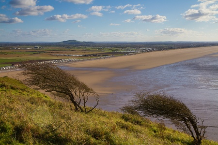 Brent Knoll and Brean beach from Brean Down in Somerset Stock Photo - 16048130