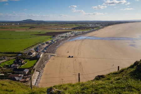 Brent Knoll and Brean beach from Brean Down in Somerset Stock Photo - 16048124