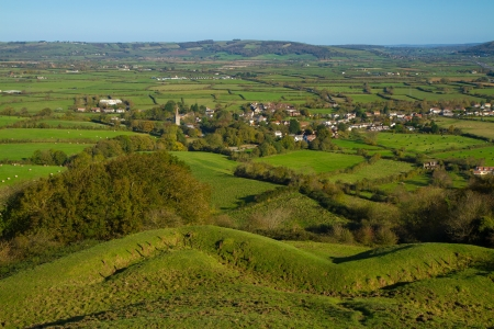 brent: View from Brent Knoll Somerset towards the Mendip Hills
