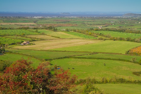 bristol channel: View from Brent Knoll Somerset towards Flat Holm Weston-super-Mare and Bristol Channel