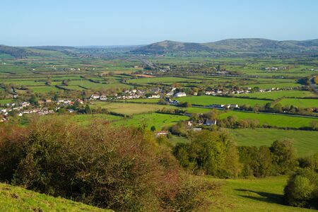 brent: View from Brent Knoll Somerset towards Crook Peak and the Mendip Hills  Stock Photo