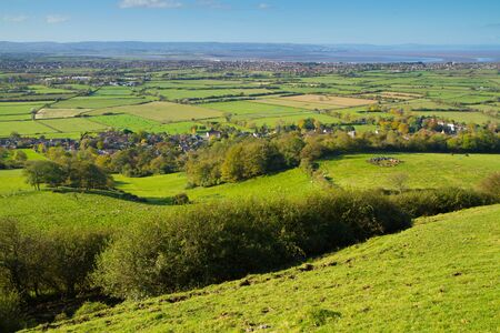 quantock hills: View from Brent Knoll Somerset towards the Bristol Channel and Quantock Hills Stock Photo