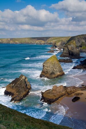 Carnewas   Bedruthan Steps North Cornish coast Cornwall England United Kingdom photo