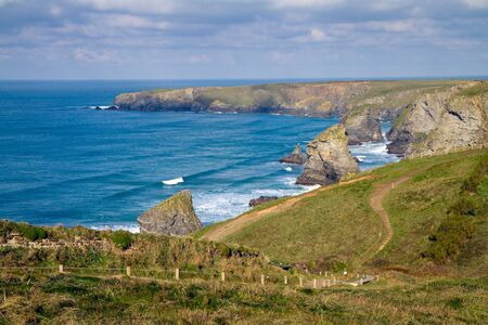 national trust: Cornish coastline Bedruthan Steps Cornwall England