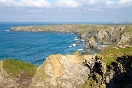 national trust: Carnewas and Bedruthan Steps North Cornwall England United Kingdom