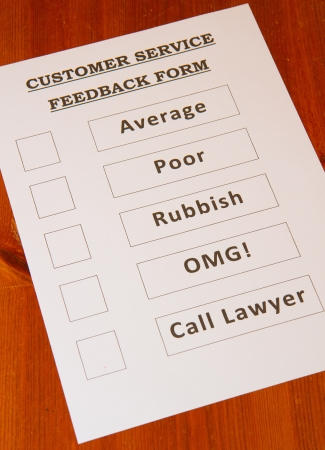 Funny Customer Service Feedback Form loaded with bad options including average, poor, rubbish, OMG and  Call lawyers  photo