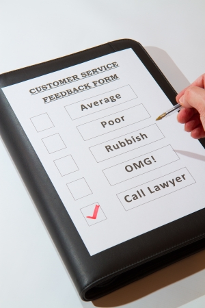 Fun Customer Service Feedback Form loaded with bad options including average, poor, rubbish, OMG and  Call lawyers  Stock Photo - 16806767
