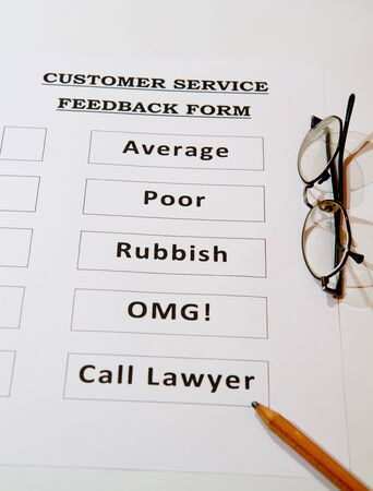 Funny Customer Service Feedback Form Option To Love Stock Photo