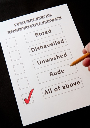 Junny Customer Service Feedback Form with rude option Stock Photo - 16959365