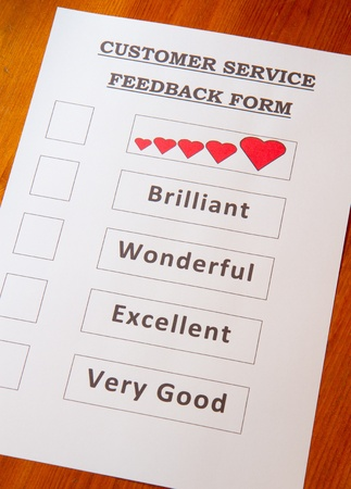 Customer Service Feedback Document with options for rating service Stock Photo - 16959355