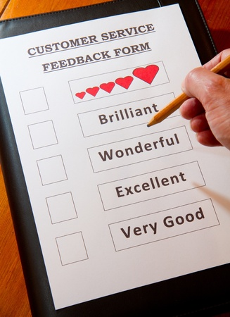 Customer Service Feedback Document option to love Stock Photo - 16959357