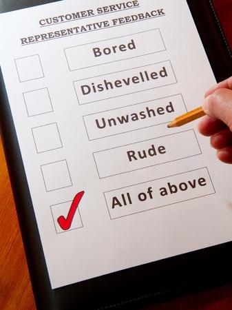 Fun Customer Service Feedback Form inc option for rude unwashed Stock Photo - 16959352