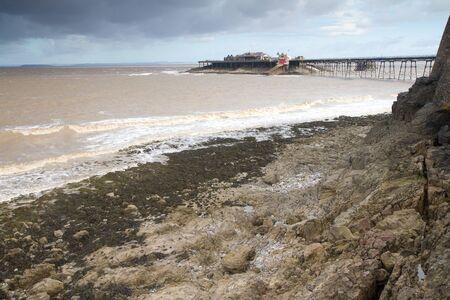 steep holm: Old Pier Weston-super-Mare Somerset England