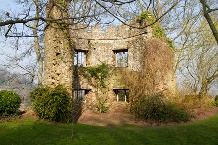 county somerset: Ruins in grounds of Dunster Castle Somerset Editorial
