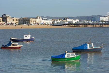 birnbeck: Barche a Weston-super-Mare, Somerset baia e vista mare frontale al Grand Pier