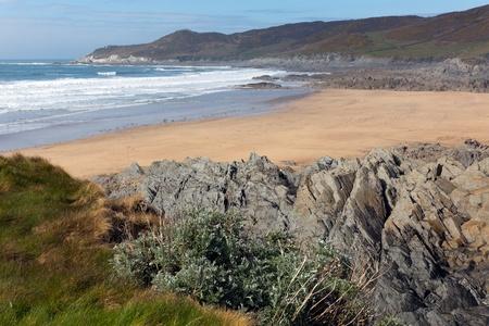 south west coast path: Baia Woolacombe e spiaggia Devon Inghilterra sulla West Coast Path vista sud verso Morte Point