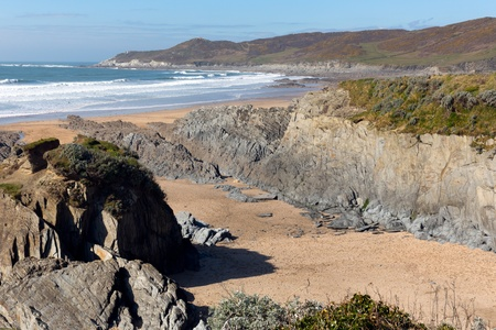 Woolacombe beach Devon England on the South West Coast Path view towards Morte Point Stok Fotoğraf