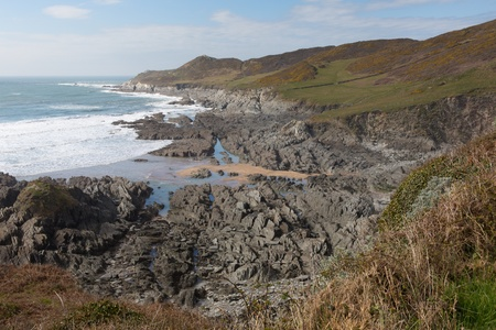 south west coast path: South West Coast Path vista Woolacombe Devon verso Morte Point Archivio Fotografico