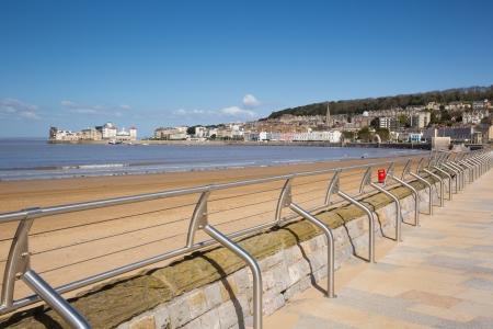brean beach: Weston-super-Mare seafront and promenade Somerset England UK