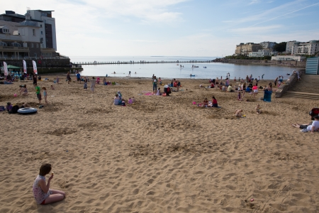 birnbeck: WESTON-SUPER-MARE, SOMERSET-MAY 6TH 2013   Crowds flock to Weston-super-mare beach as temperatures soared on the spring Bank Holiday on Mon 6th May 2013 Editorial