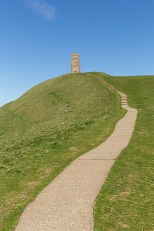 Footpath to Glastonbury Tor Somerset England St  Michael s Tower photo