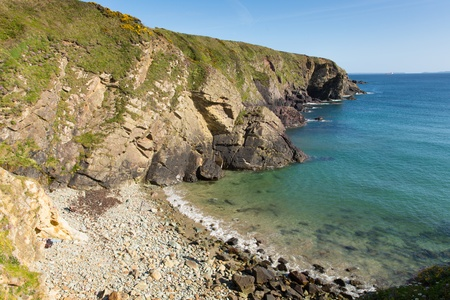 Caerfai Bay beach Pembrokeshire West Wales UK near St Davids and in the Coast National Park    The Pembrokeshire Coast Path passes alongside the bay