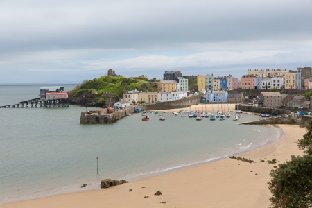 great bay: Tenby Pembrokeshire Wales   Medieval walled fishing town on west side of Carmarthen Bay with great beaches and history  In Welsh known as Dinbych-y-pysgod