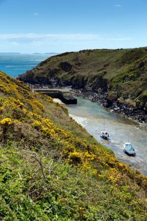 great bay: Porthclais near St David s Pembrokeshire, West Wales    Harbour leads to St Brides Bay   The Pembrokeshire Coast Path passes alongside Stock Photo