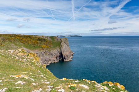 tenby wales: Lydstep Point Pembrokeshire Wales   Next to Tenby and Manorbier in the distance Caldey Island  Stock Photo