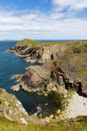 ynys: Wooltack Point hill overlooking Skomer Island Pembrokeshire West Wales