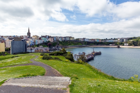 tenby wales: Tenby harbour Pembrokeshire Wales historic Welsh town on west side of Carmarthen Bay with great beaches and history