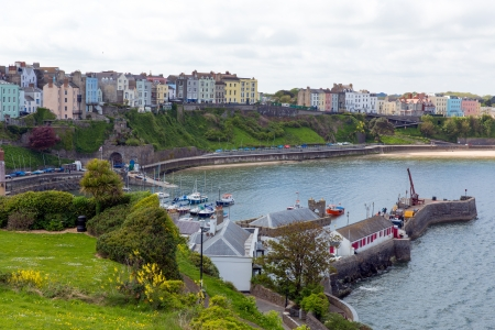 tenby wales: Tenby port Pembrokeshire Wales   Medieval walled fishing town on west side of Carmarthen Bay with great beaches and history  In Welsh known as Dinbych-y-pysgod  Editorial