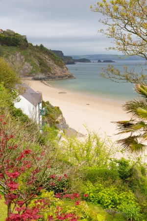 tenby wales: North beach Tenby Pembrokeshire Wales historic Welsh town on west side of Carmarthen Bay with great beaches and history Stock Photo