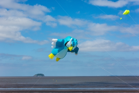 steep holm: Weston-super-Mare, Somerset, England -June 9th 2013   Colourful kites attracted crowds at the first Weston Kite Festival on Sunday 9th June 2013