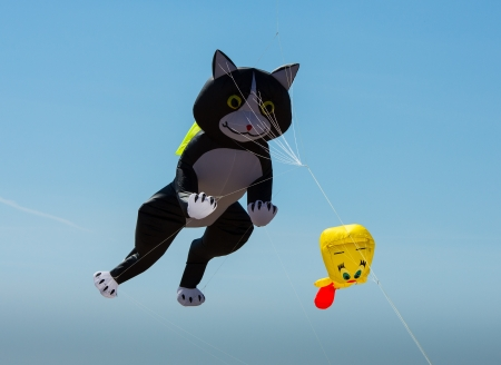 Cat shaped kite blue sky