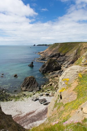 skomer island: Welsh coastal scene towards Skomer Island Pembrokeshire, area known for Puffins, wildlife and a National Nature Reserve Stock Photo