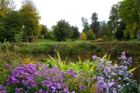 Colourful flowers autumn at Forde Abbey Dorset England, former Cistercian monastery now a tourist attraction and a Grade I listed building