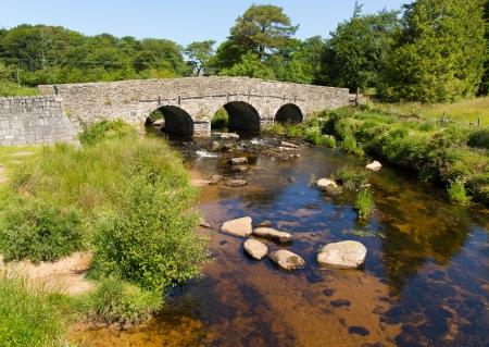 Postbridge clapper bridge Dartmoor Devon England UK