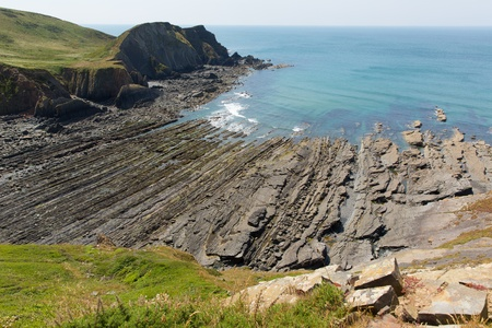 rock strata: Rock strata on rocky beach cove