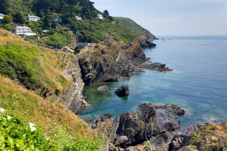 View from South West Coast path near Polperro Cornwall England