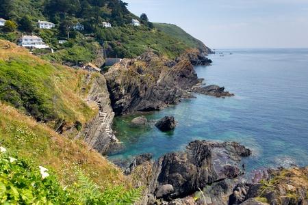 south west coast path: Vista dal South West Coast sentiero vicino a Polperro, Cornwall, Inghilterra