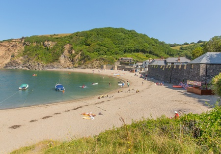 par: Polkerris beach Cornwall England near St Austell and Par on a beautiful summer day Editorial
