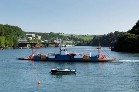 Bodinnick car ferry crossing Fowey River Cornwall  photo